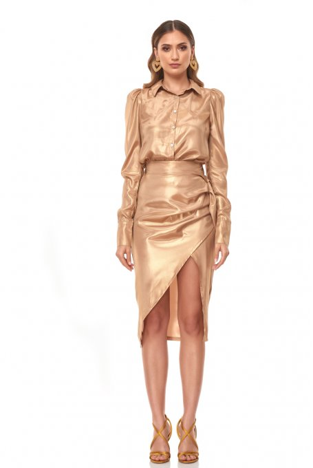 ASYMMETRIC FOIL SKIRT
