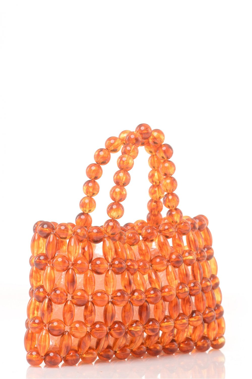 BAG WITH BROWN PLASTIC BEADS