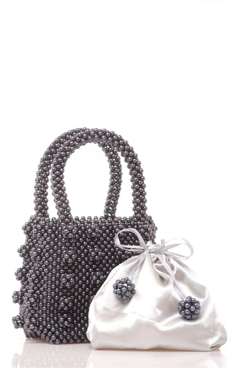 HANDMADE BAG WITH BLACK PEARLS