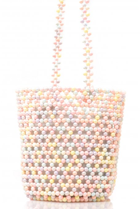 BAG WITH COLORFUL PASTEL PEARLS