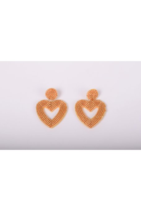 HEART EARRINGS WITH GOLD BEADS