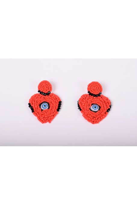 EARRINGS WITH RED BEADS