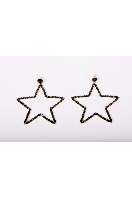 STAR EARRINGS WITH BLACK JEWEL