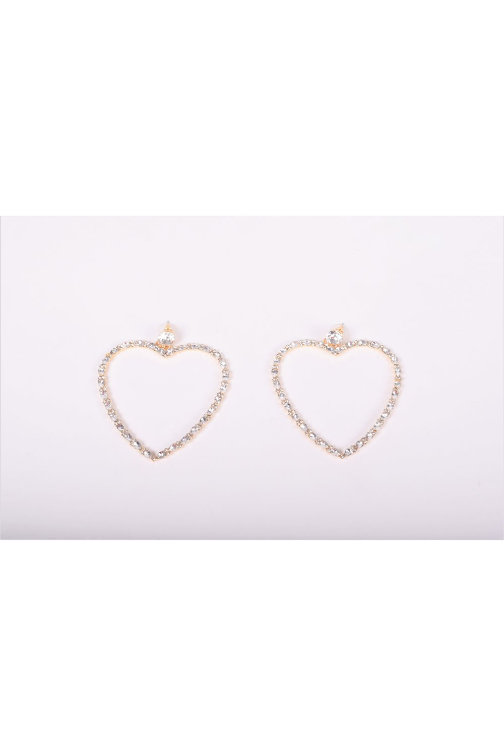 HEART EARRINGS WITH STRASS