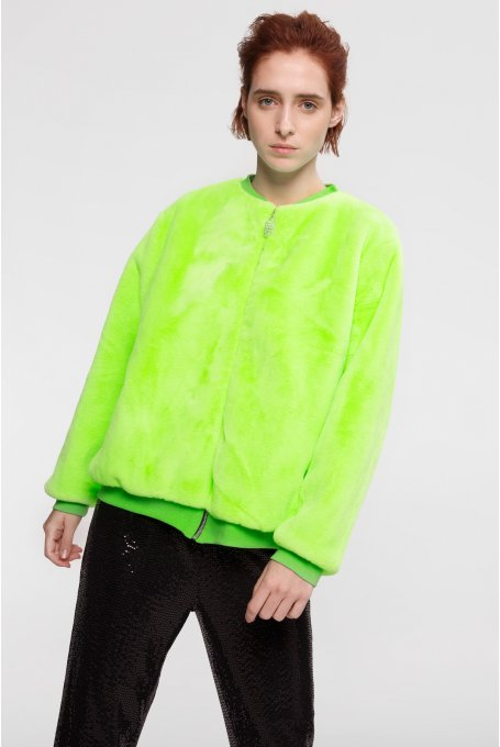 FAKE FUR NEON BOMBER