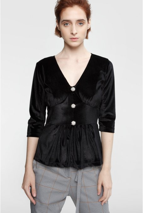 BLACK VELVET BLOUSE WITH STRASS BUTTON