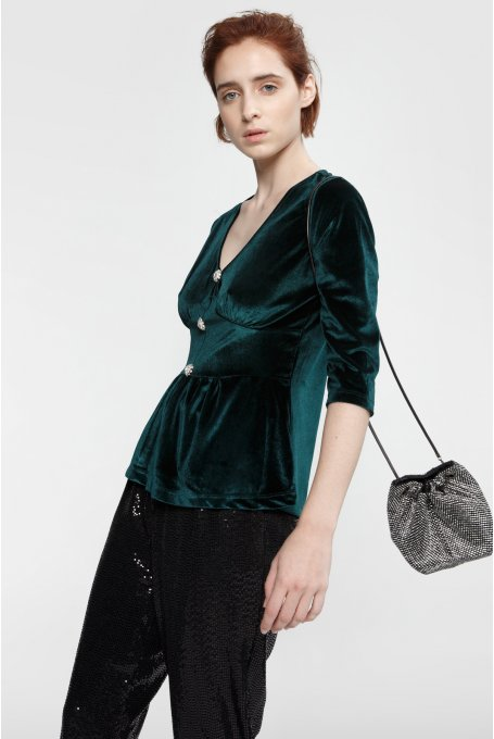 GREEN VELVET BLOUSE WITH STRASS BUTTON