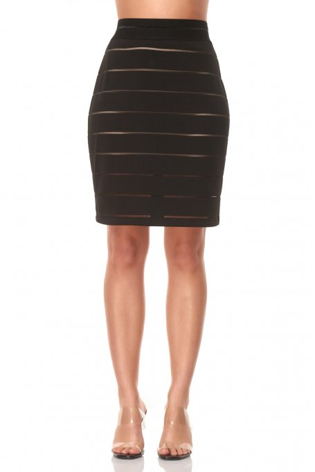 SKIRT WITH SITHRU STRIPES