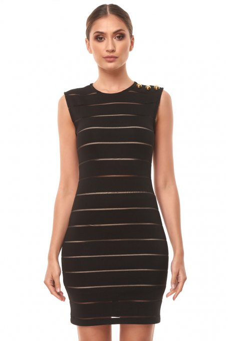 DRESS WITH SITHRU STRIPES